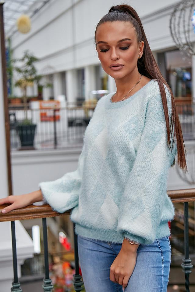 Женский свитер с ромбами, голубой р.42-48, вязка
