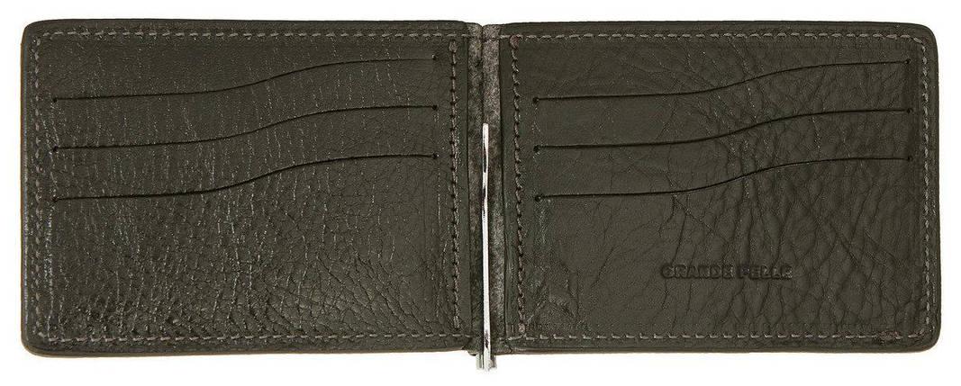 Зажим для купюр с монетницей из кожи Grande Pelle черный (125610), фото 2