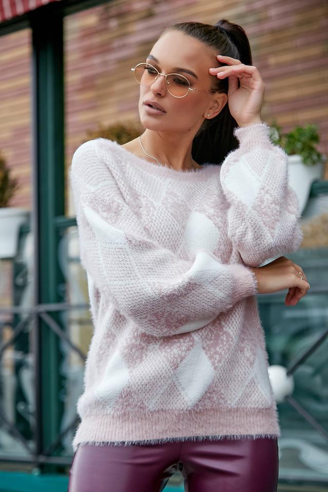 Женский красивый свитер с ромбами, розовый р.42-48, вязка