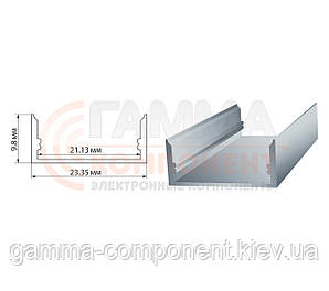 Алюминиевый профиль широкий анодированный для светодидных лент ПФ-25 накладной, 2м