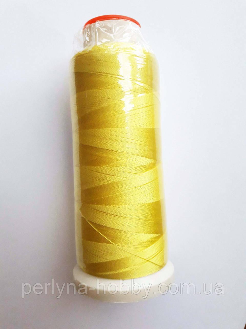 Нитки для машинної вишики 100% віскоза (100% rayon)  3000 метрів, №154, жовтийц