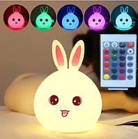 Силиконовый ночник 3DTOYSLAMP Кролик с розовыми ушками 16 цветов Пульт ДУ