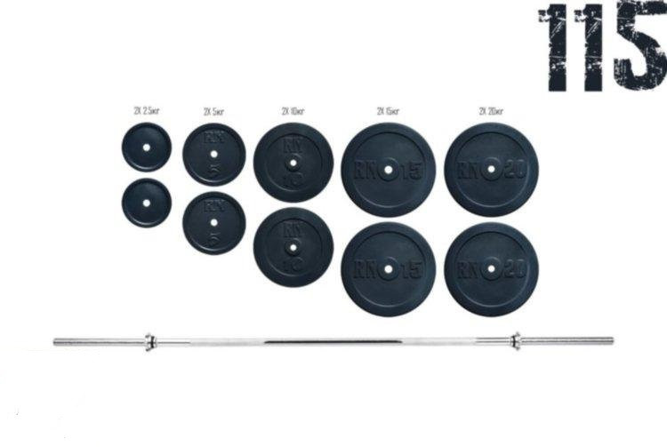 Штанга 115 кг + Гантели по 16 кг с хром грифами