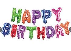 Фольгированная надпись Happy Birthday - цветная - 40 см