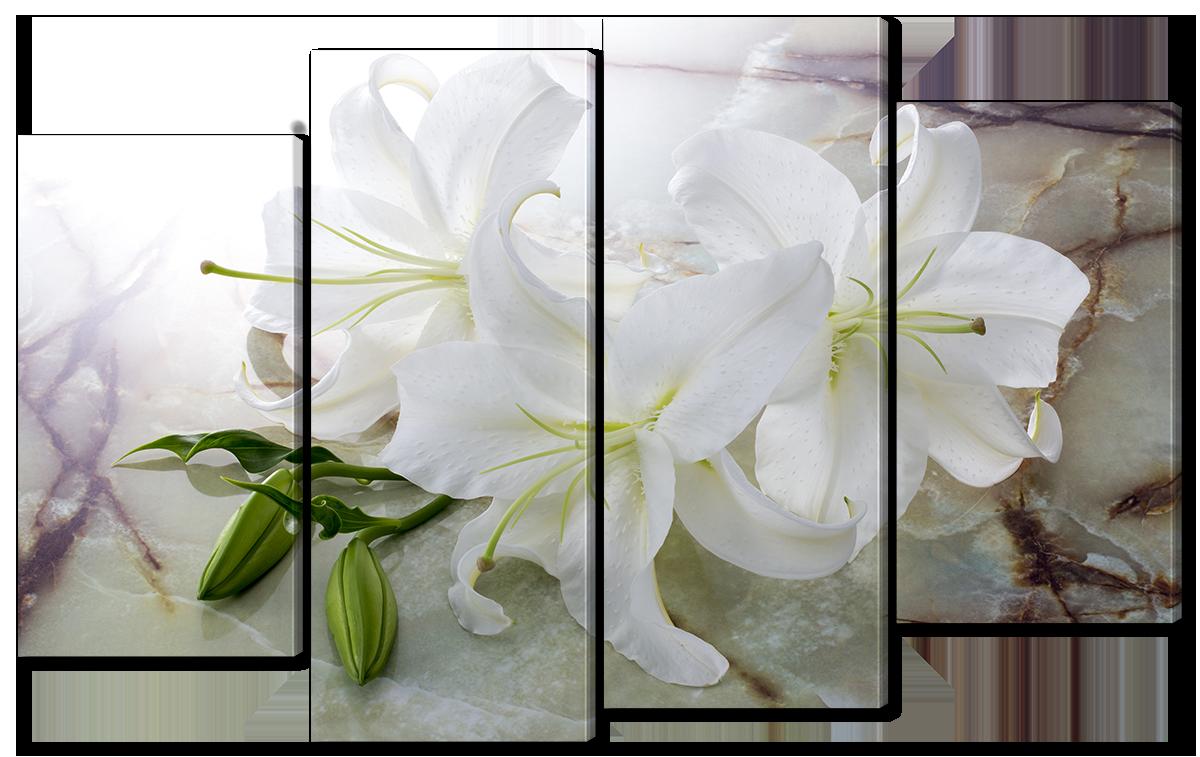 Модульная картина Interno Эко кожа Белая лилия  166x120см (A1352XXL)