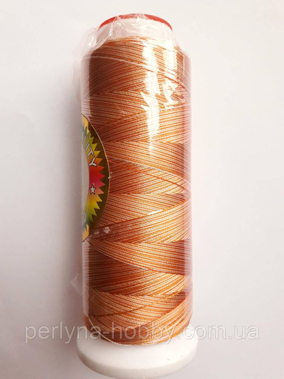 Нитки для машинної вишики меланж 100% віскоза (100% rayon) 3000 ярдів, № 034, оранжево-біла