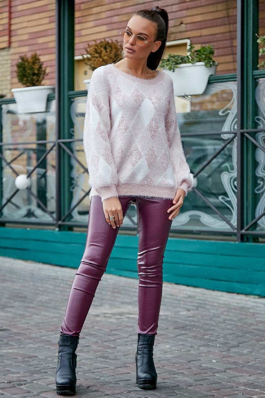 Красивый женский свитер с ромбами, розовый р.42-48, вязка