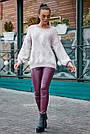 Красивый женский свитер с ромбами, розовый р.42-48, вязка, фото 4