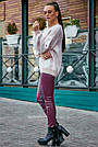 Красивый женский свитер с ромбами, розовый р.42-48, вязка, фото 5