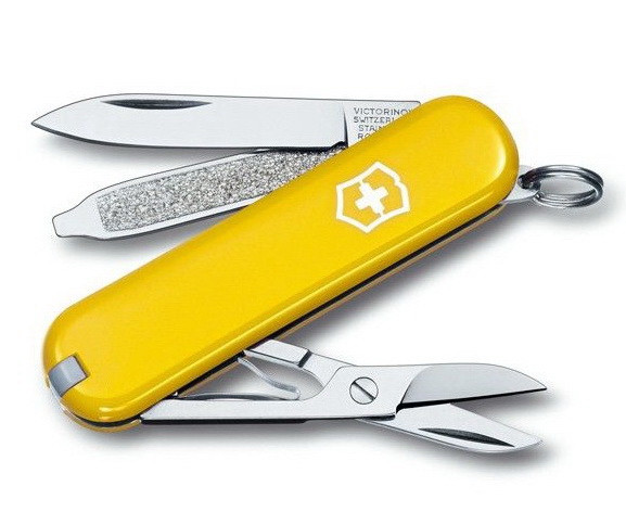 Нож складной, мультитул Victorinox Classic SD (58мм, 7 функций), желтый 0.6223.8