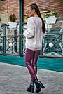 Красивый женский свитер с ромбами, розовый р.42-48, вязка, фото 6