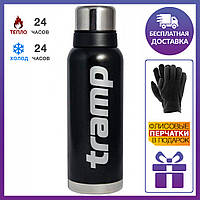 Термос Tramp (трамп) 1,2 л. черный (держит 24 часа) + подарок