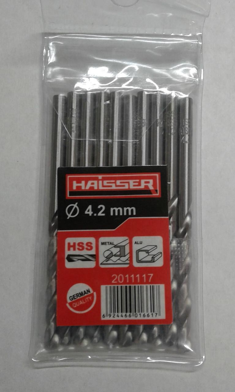 Сверло 4,2х43х75 мм ц/х ср 10шт по металлу HAISSER DIN 338