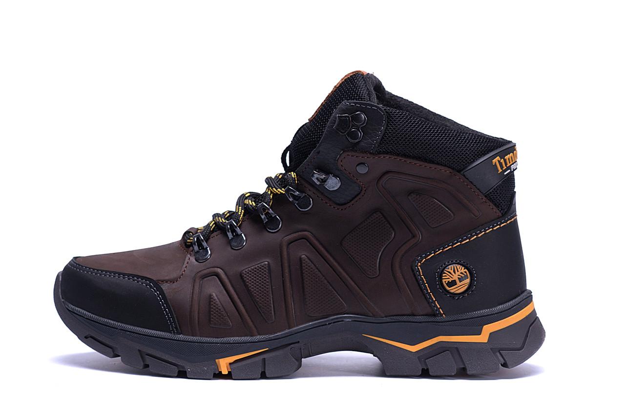 Мужские зимние кожаные ботинки Timberland  Chocolate  (реплика), фото 1