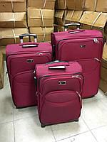 Комплект тканевых чемоданов на 2 колеса тройки Бордовый