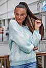 Женский свитер с ромбами, голубой р.42-48, вязка, фото 3