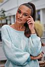 Женский свитер с ромбами, голубой р.42-48, вязка, фото 4