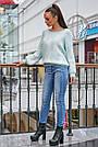 Женский свитер с ромбами, голубой р.42-48, вязка, фото 5