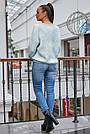 Женский свитер с ромбами, голубой р.42-48, вязка, фото 6