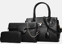 Набор женских сумок 3 в 1 большая сумка, кошелек и маленькая сумка, черная опт, фото 1