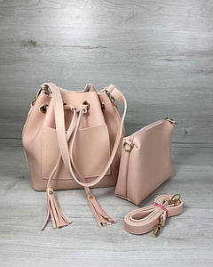 Молодежная сумка из эко-кожи Люверс пудрового цвета 1027569103