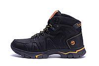 Мужские зимние кожаные ботинки Timberland  Black  (реплика), фото 1