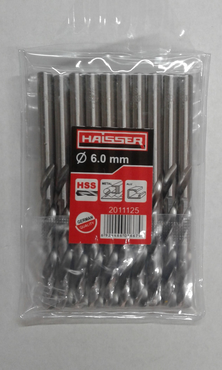 Сверло по металлу HAISSER DIN 338 6,0х57х93 мм ц/х ср.  10шт