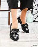 Лоферы женские кожаные с декором черные, фото 7