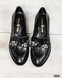Лоферы женские кожаные с декором черные, фото 8