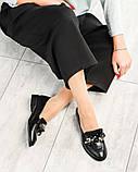 Лоферы женские кожаные с декором черные, фото 9