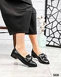 Лоферы женские кожаные с декором черные, фото 10