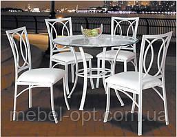 Комплект Прованс А-188 белый стол круглый стеклянный 100 см + 4 стула белый на металлической каркасе