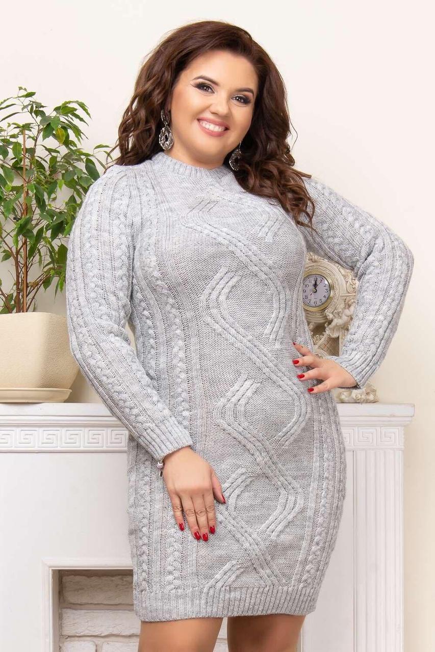Красивое платье с вязаными узорами 48-52 (в расцветках)