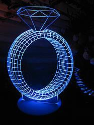 3d-светильник Кольцо с бриллиантом, 3д-ночник, несколько подсветок (батарейка+220В)