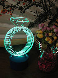 3d-светильник Кольцо с бриллиантом, 3д-ночник, несколько подсветок (на пульте)
