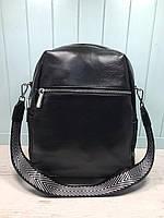 Жіночий шкіряний міський рюкзак з плечовим ремінцем чорний, фото 3