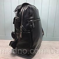 Жіночий шкіряний міський рюкзак з плечовим ремінцем чорний, фото 6