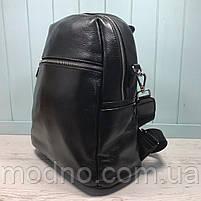 Жіночий шкіряний міський рюкзак з плечовим ремінцем чорний, фото 5
