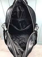 Жіночий шкіряний міський рюкзак з плечовим ремінцем чорний, фото 9