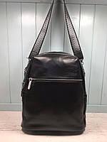 Жіночий шкіряний міський рюкзак з плечовим ремінцем чорний, фото 4