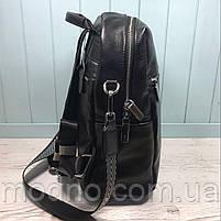 Жіночий шкіряний міський рюкзак з плечовим ремінцем чорний, фото 7