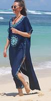 Длинная пляжная туника-платье синего цвета с вышивкой, фото 1