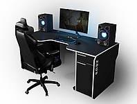 "Стол компьютерный 160х85х76 см. ""Viking-2S"" Геймерский, черный/белый, фото 1"