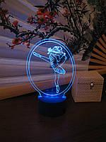 3d-светильник Балерина, Танцовщица, 3д-ночник, несколько подсветок (на батарейке)