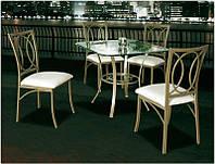 Комплект Антик В-188 бронза стол квадратный стеклянный 90х90 см + 4 стула бронза на металлической каркасе