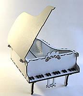 Шкатулка Рояль из мдф белого цвета малая Kalinin арт 124