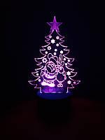 3d-светильник Елка с Сантой и оленем, 3д-ночник, несколько подсветок (на батарейке)