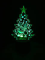 3d-светильник Елка с Сантой и оленем, 3д-ночник, несколько подсветок (на пульте)
