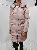 Женская зимняя куртка в пудровом цвете