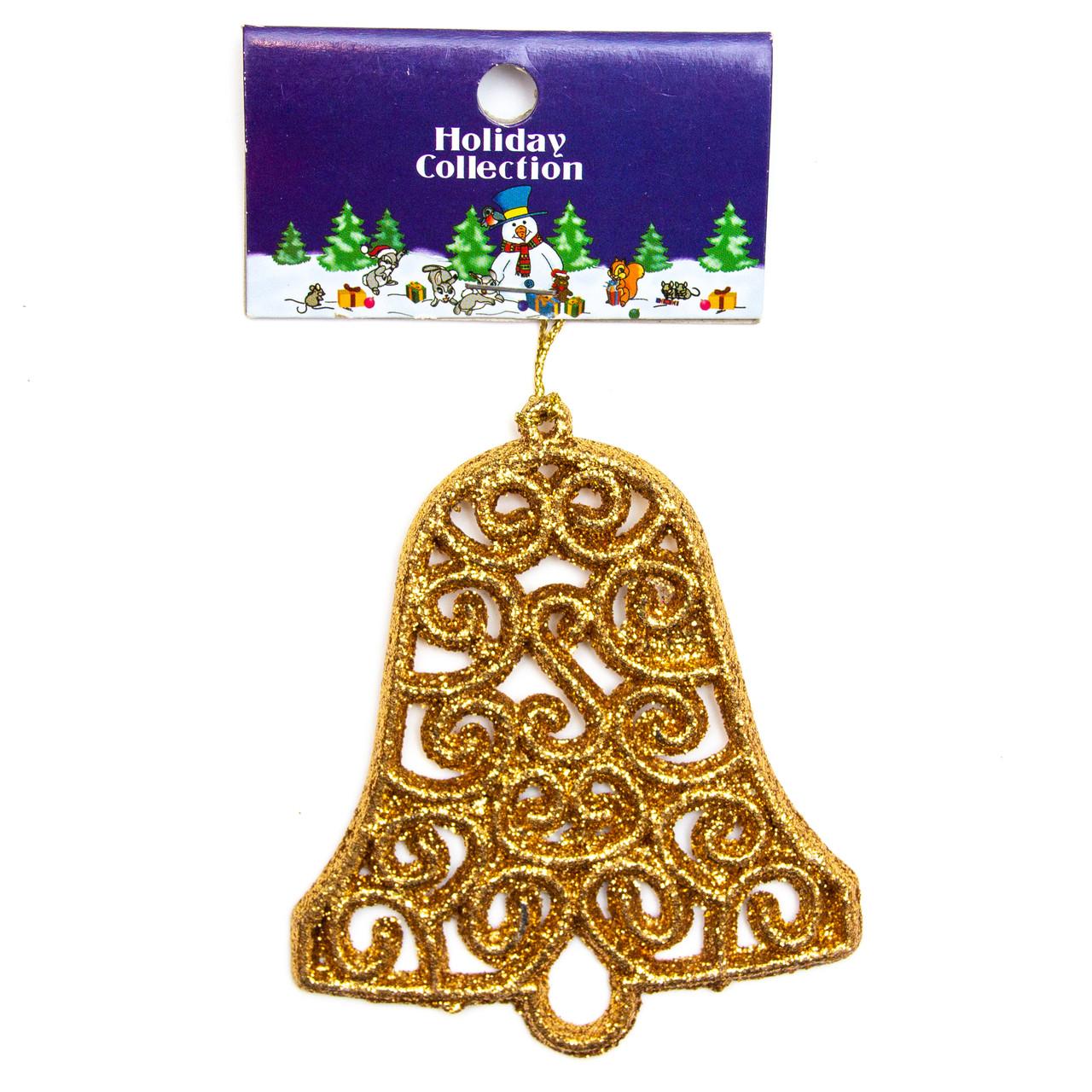 Елочная игрушка - золотой колокольчик, 10см (000678-6)